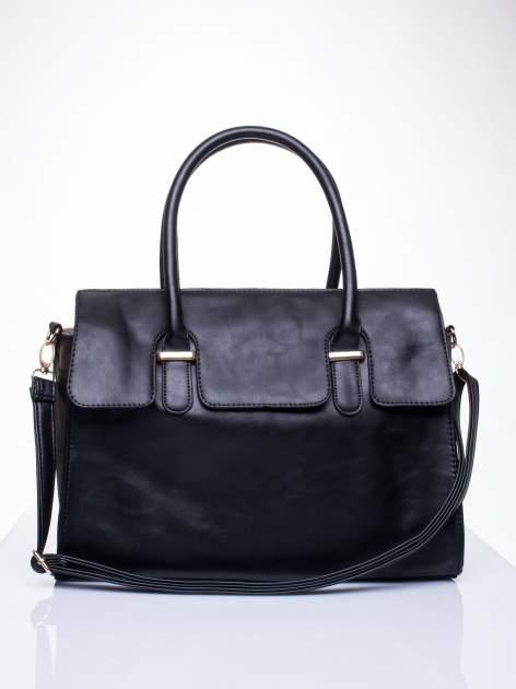 Czarna torebka teczka z klapką                                  zdj.                                  2