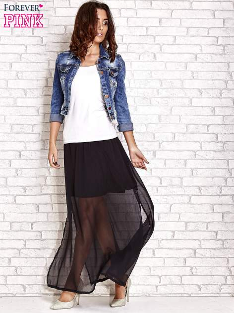 Czarna transparentna spódnica maxi                                  zdj.                                  2