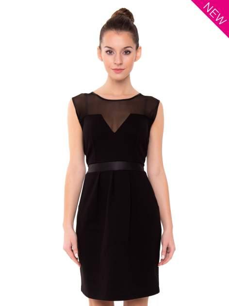 Czarna tulipanowa sukienka z łączonych materiałów                                  zdj.                                  2