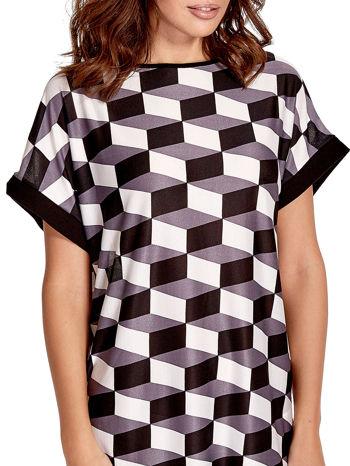 Czarna tunika w przestrzenne geometryczne wzory                                  zdj.                                  5