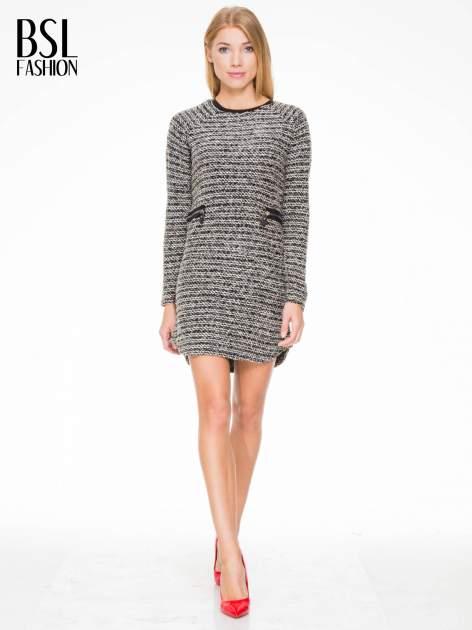 Czarna tweedowa sukienka w stylu Chanel                                  zdj.                                  1