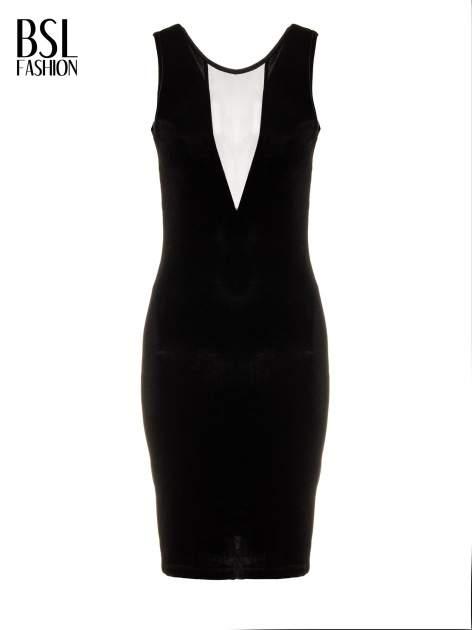 Czarna welurowa sukienka z głębokim tiulowym dekoltem                                  zdj.                                  5