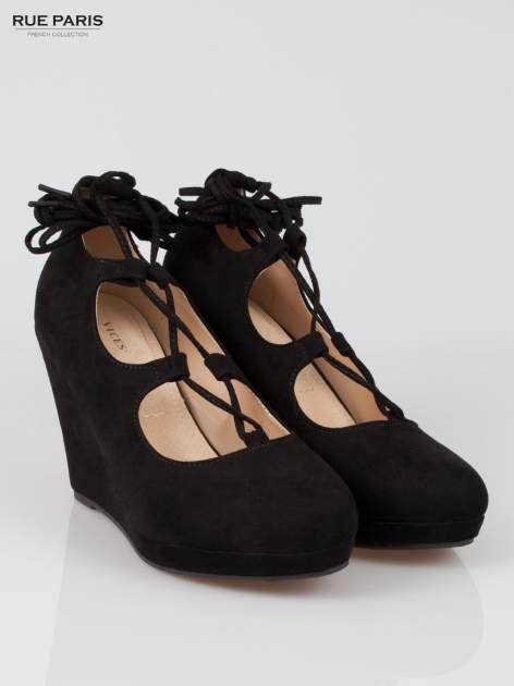 Czarna wiązane koturny lace up                                  zdj.                                  2