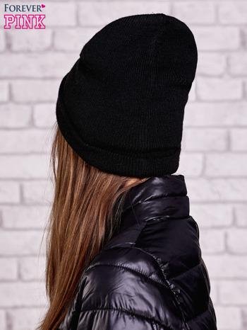 Czarna wywijana czapka z napisem LONDON                                  zdj.                                  2