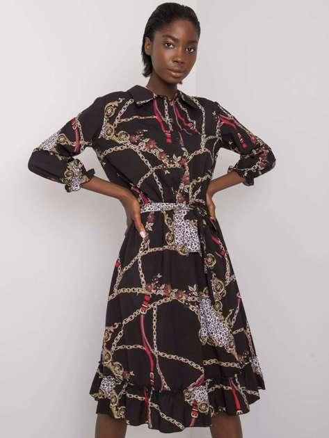 Czarna wzorzysta sukienka z kołnierzykiem Jamalia