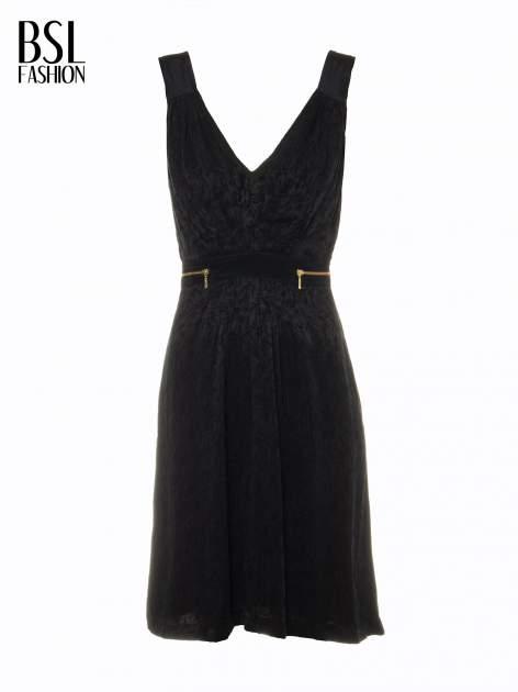 Czarna wzorzysta sukienka z suwakami                                  zdj.                                  5