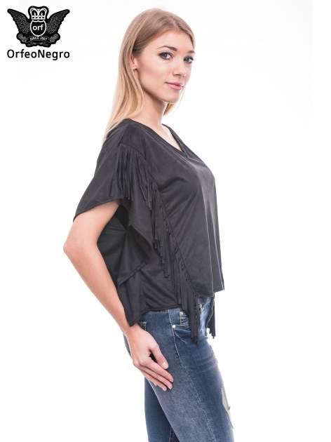 Czarna zamszowa bluzka nietoperz z frędzlami                              zdj.                              3