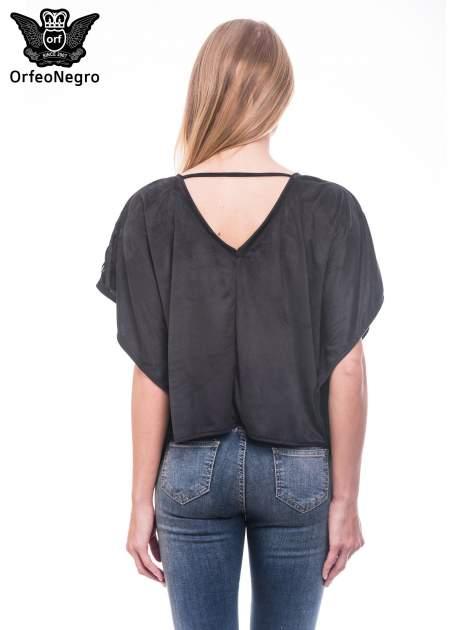 Czarna zamszowa bluzka nietoperz z frędzlami                              zdj.                              4