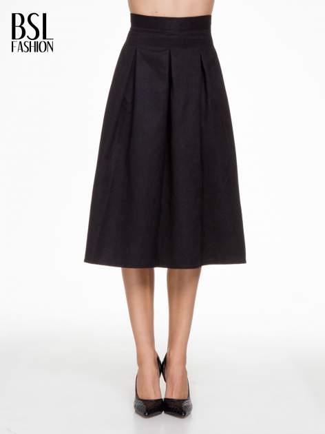 Czarna zamszowa spódnica midi z kontrafałdami                                  zdj.                                  1