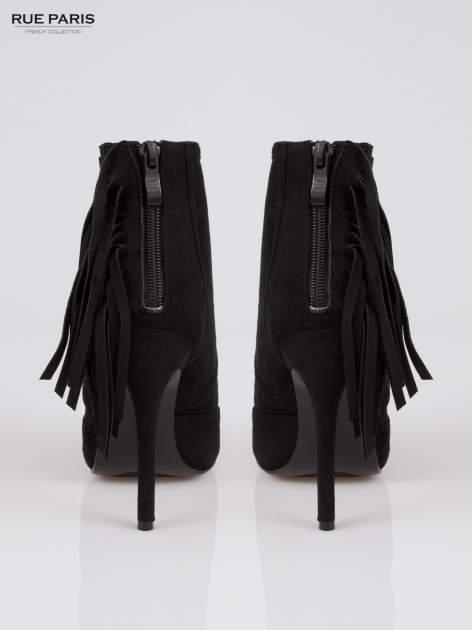 Czarne ażurowe botki faux suede Florence z frędzlami                                  zdj.                                  3
