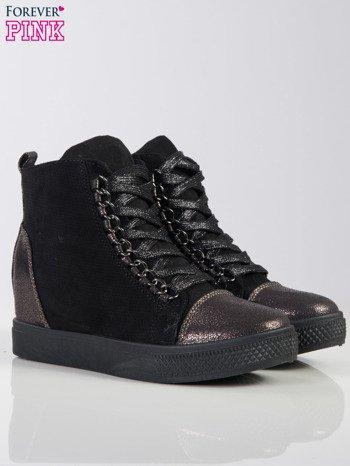 Czarne ażurowe sneakersy Ginger ze srebrnymi wstawkami z przodu i z tyłu buta