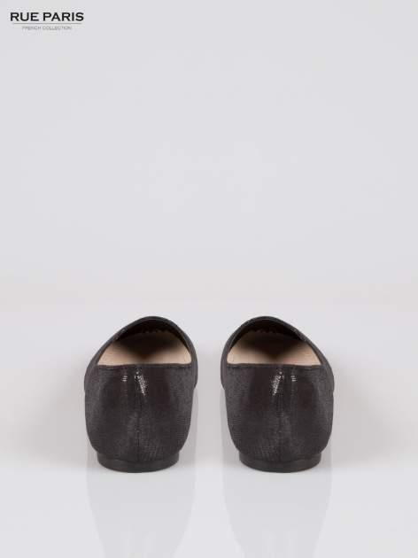Czarne baleriny faux leather z efektem animal skin                                  zdj.                                  3