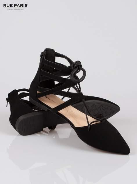 Czarne baleriny lace up faux suede Taylor z wiązaniem                                  zdj.                                  4