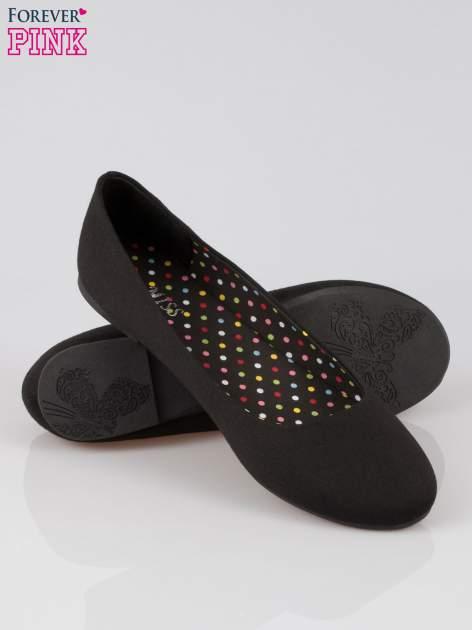 Czarne baletki z tkaniny                                  zdj.                                  4