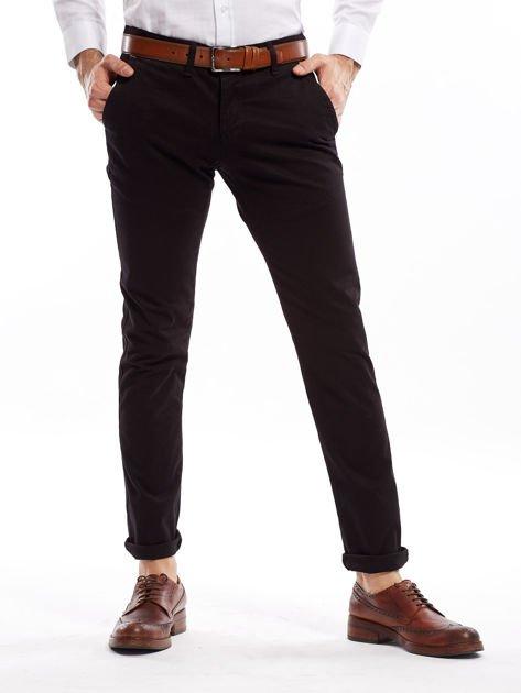 Czarne bawełniane spodnie męskie chinosy                               zdj.                              1