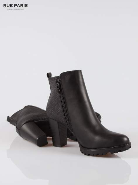 Czarne botki ankle boots na słupku z gumą po bokach cholewki                                  zdj.                                  4