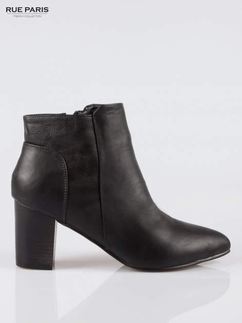 Czarne botki ankle heels na słupku                                  zdj.                                  1