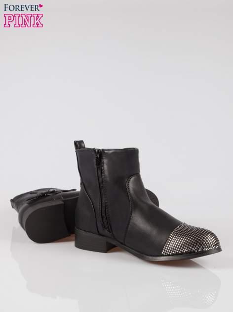 Czarne botki biker boots z noskiem nabitym dżetami                                  zdj.                                  4
