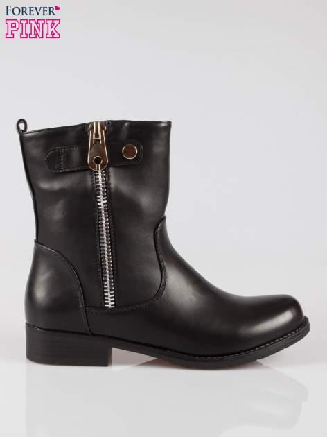 Czarne botki biker boots z suwakiem z boku                                  zdj.                                  1