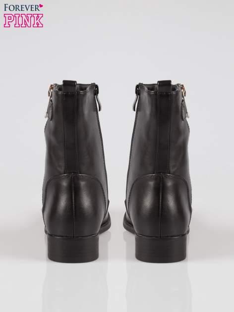 Czarne botki biker boots z suwakiem z boku                                  zdj.                                  3