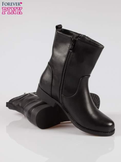 Czarne botki biker boots z suwakiem z boku                                  zdj.                                  4