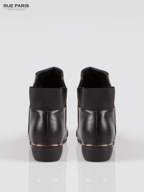 Czarne botki cap toe z oryginalną cholewką                                  zdj.                                  3