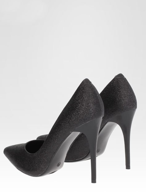 Czarne brokatowe szpilki w szpic Black Glitter                                  zdj.                                  3