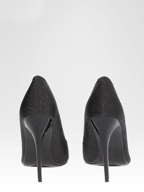 Czarne brokatowe szpilki w szpic Black Glitter                                  zdj.                                  5