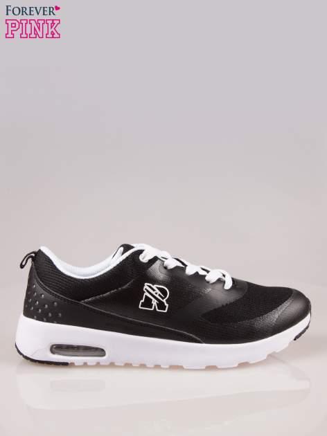 Czarne buty sportowe damskie z siateczką i poduszką powietrzną w podeszwie