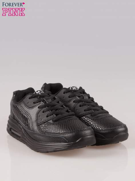 Czarne buty sportowe faux leather Watch Me ze wstawkami ze skóry krokodyla                                  zdj.                                  2