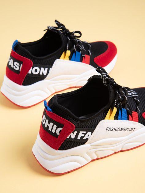 Czarne buty sportowe na wysokiej podeszwie z kolorowymi szlufkami                              zdj.                              5