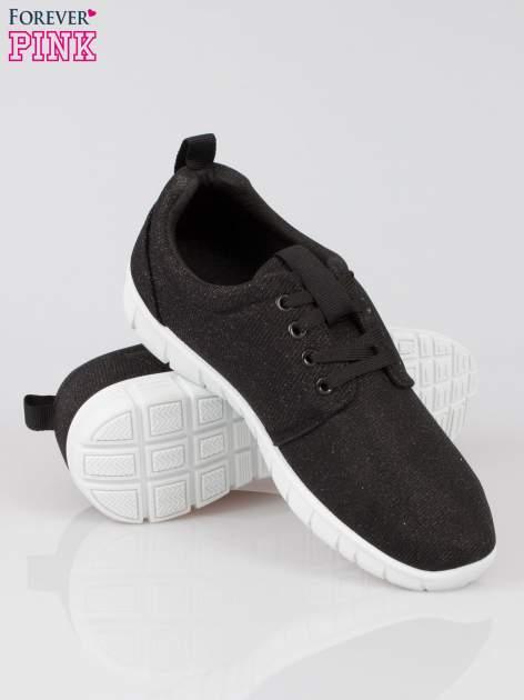 Czarne buty sportowe textile Diamonds z metaliczną nitką                                  zdj.                                  4