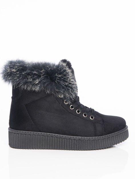 Czarne buty sportowe z grubym futrzanym kołnierzem na podwyższonej podeszwie                              zdj.                              1