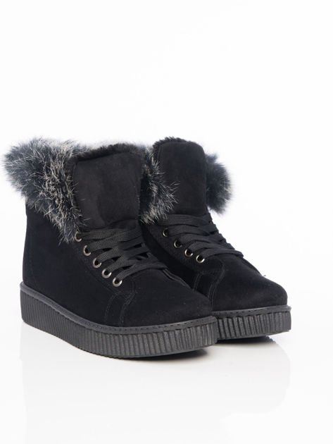 Czarne buty sportowe z grubym futrzanym kołnierzem na podwyższonej podeszwie                                  zdj.                                  2