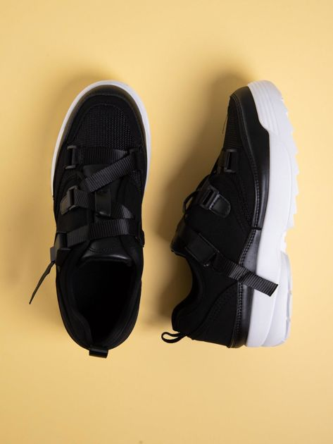 Czarne buty sportowe z wiązaniem i zapięciem na klips                              zdj.                              1