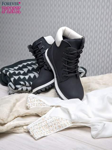 Czarne buty trekkingowe damskie traperki ocieplane                                  zdj.                                  2