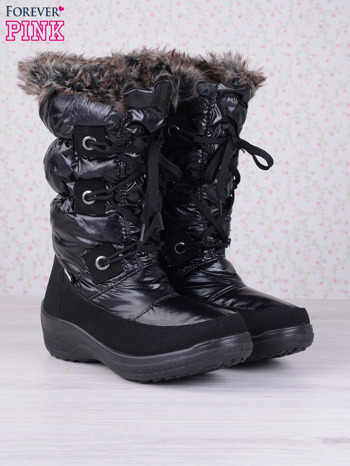 Czarne ciepłe pikowane śniegowce na misiu z membraną