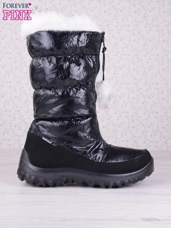 Czarne ciepłe pikowane śniegowce z membraną na suwak                                  zdj.                                  1