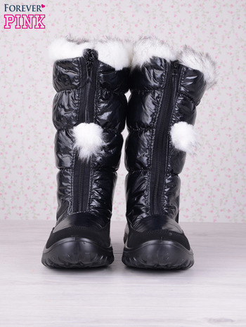 Czarne ciepłe pikowane śniegowce z membraną na suwak                                  zdj.                                  4