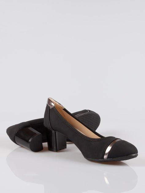 Czarne czółenka faux leather Dangerous ze złotymi wstawkami                                  zdj.                                  4