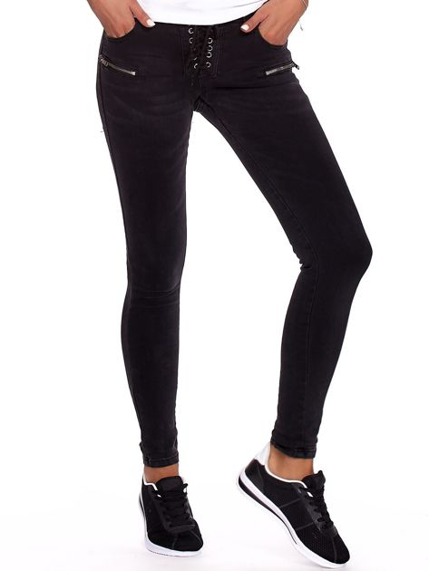 Czarne dopasowane spodnie ze sznurowaniem                              zdj.                              6