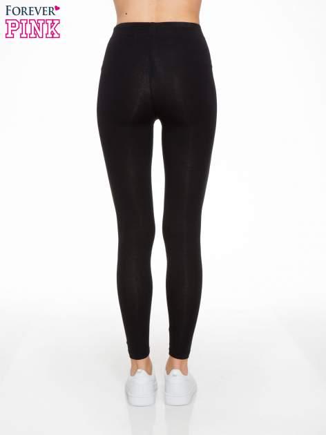 Czarne elastyczne legginsy damskie z bawełny                                  zdj.                                  4