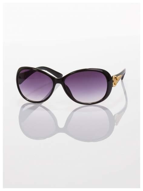 Czarne eleganckie okulary ze złotym zdobieniem dla kobiet klasyczna oprawka z filtrami UV                                  zdj.                                  1