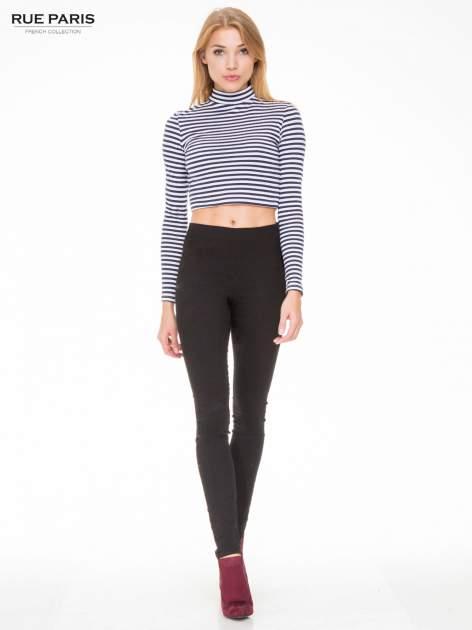 Czarne eleganckie spodnie typu tregginsy z wysoką talią                                  zdj.                                  2