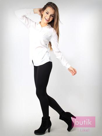 Czarne gładkie legginsy bawełniane                                  zdj.                                  1