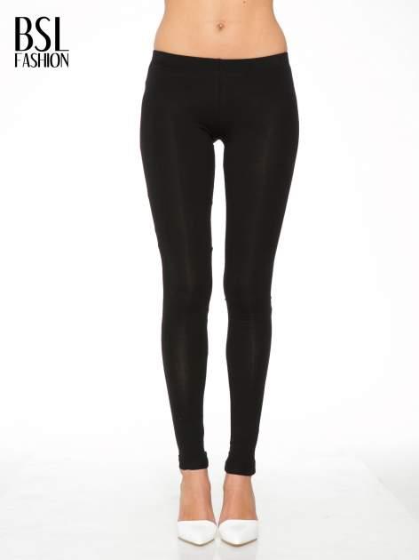Czarne gładkie legginsy z bawełny
