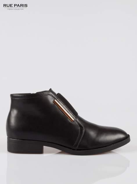 Czarne gładkie niskie botki z gumą