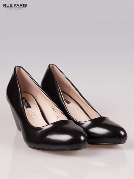 Czarne klasyczne koturny faux leather Mary
