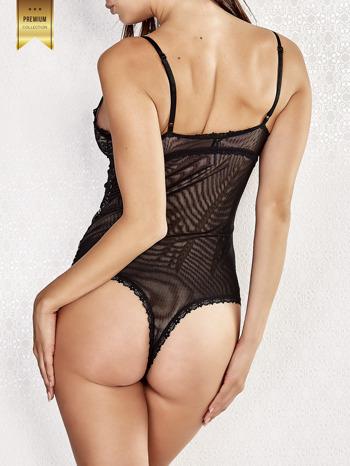 Czarne koronkowe body damskie na ramiączkach