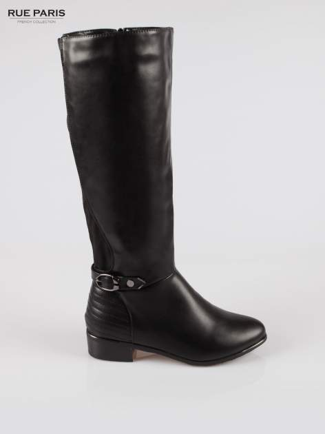 Czarne kozaki z klamerką w stylu biker boots